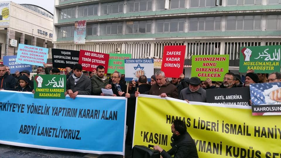 Ankara'da ABD'nin Türkiye'ye Yönelik Aldığı Yaptırım Kararı ve Kasım Süleymani'nin Şehit Edilmesi Protesto Edildi (VİDEO-FOTO)