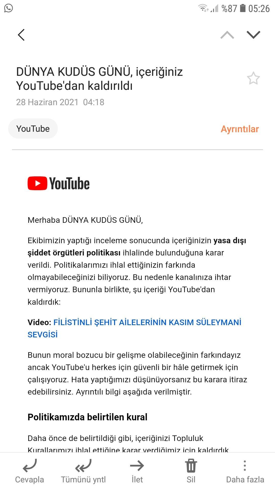 Youtube'dan Kasım Süleymani ve Filistin Sansürü